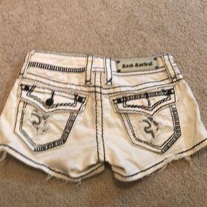 White denim Rock Revival shorts